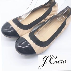 J Crew Leather Black & Beige 2 tone Ballet Flat 6